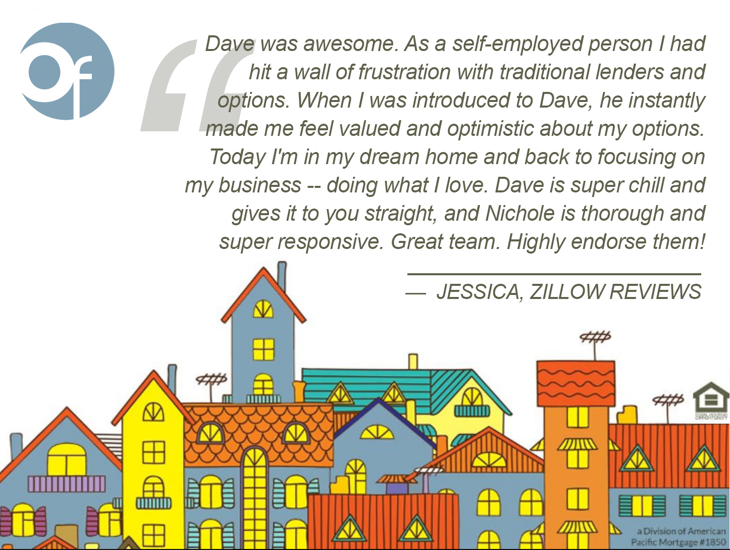 Dave was awesome. As a self-employed person I had hit a wall of frustration with traditional lenders and options. When I was introduced to Dave, he instantly made me feel valued and optimistic about my options. Today I'm in my dream home and back to focusing on my business -- doing what I love. Dave is super chill and gives it to you straight, and Nichole is thorough and super responsive. Great team. Highly endorse them!